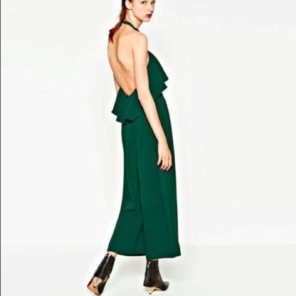 8617d61b39d0 Zara Green Ruffle Jumpsuit